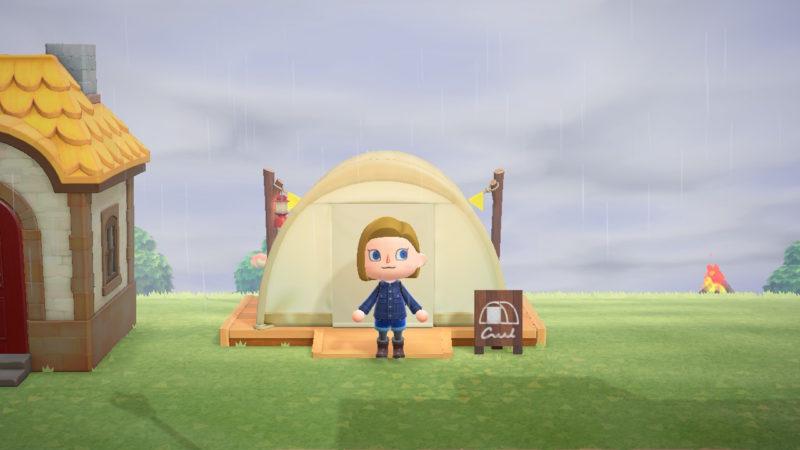 雨の日のテント