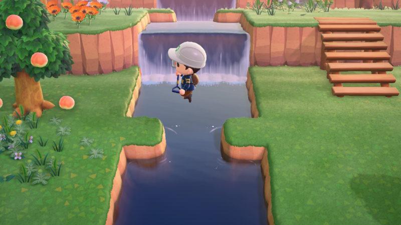 川を飛び越える人