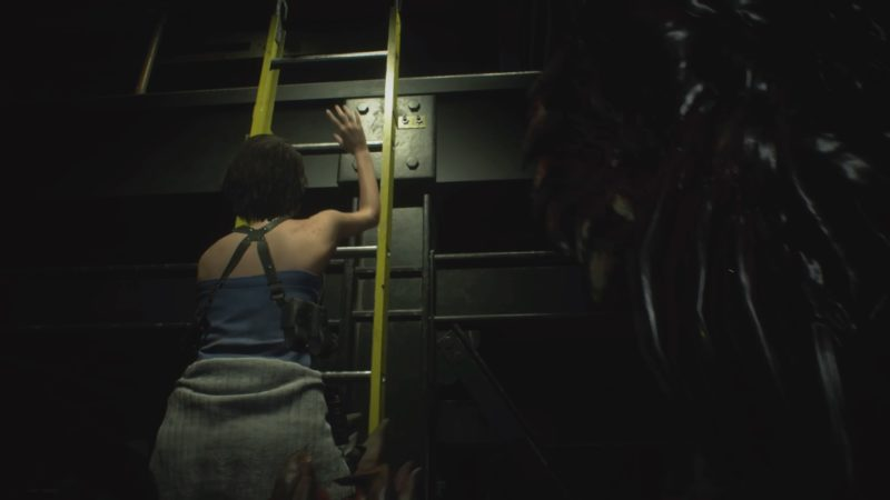 梯子を登るジル