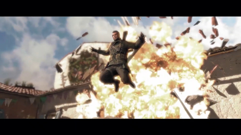 爆発から逃げる主人公